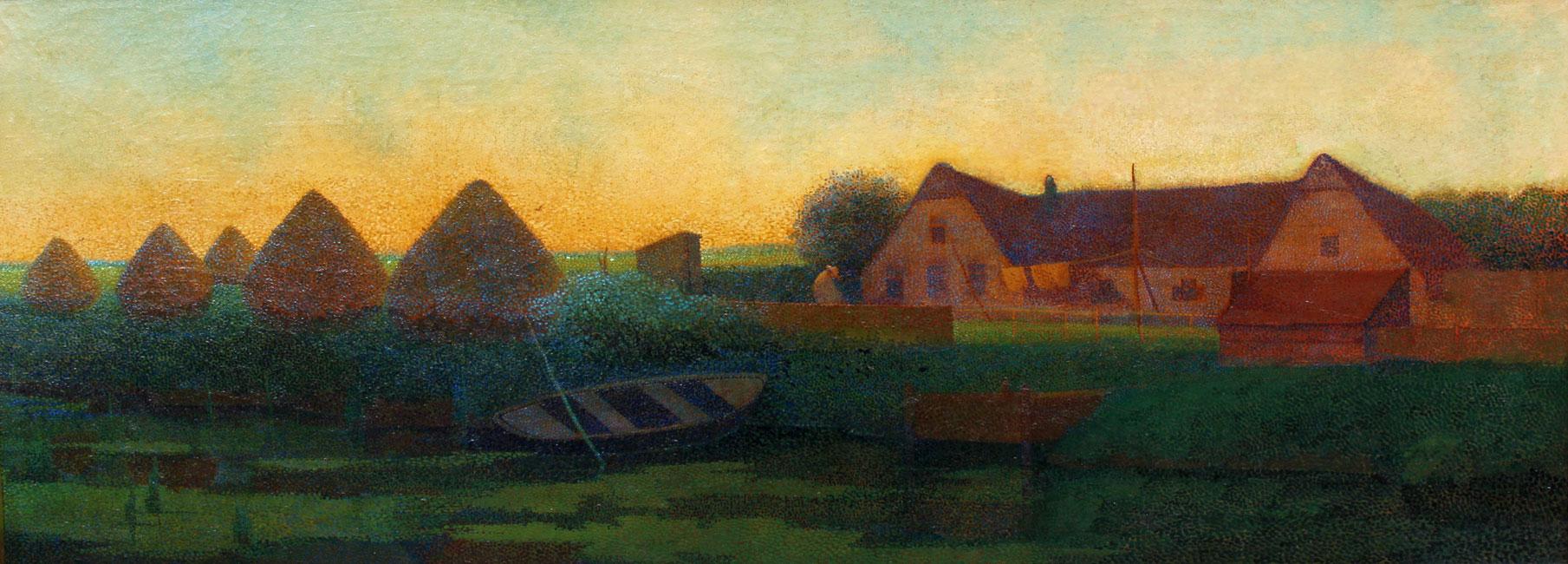Boerderij met hooibergen bij avondstemming- H.P. ( Hendricus Petrus ) Bremmer
