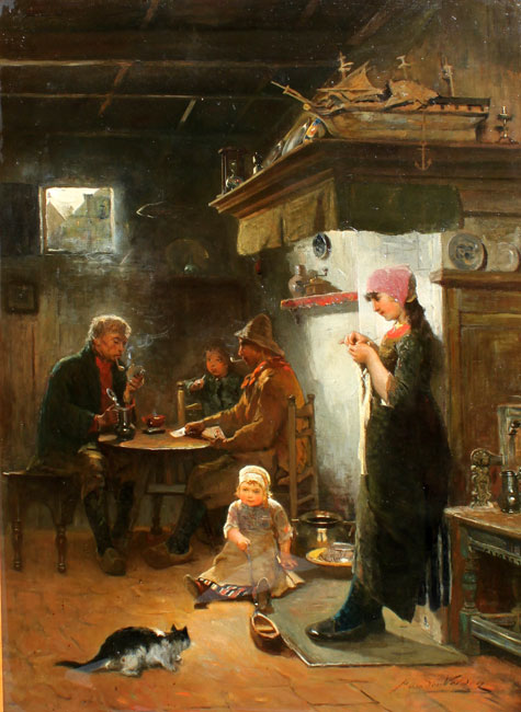 Interior of a fishermans house on Marken- Petrus van der Velden