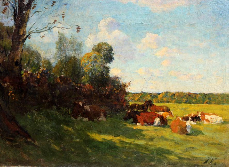 Koeien en paarden rusten in de schaduw bij een zonnige dag langs de IJssel- Jan Voerman
