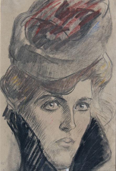 portret van een jonge dame met hoed en bontkraag- Leo Gestel