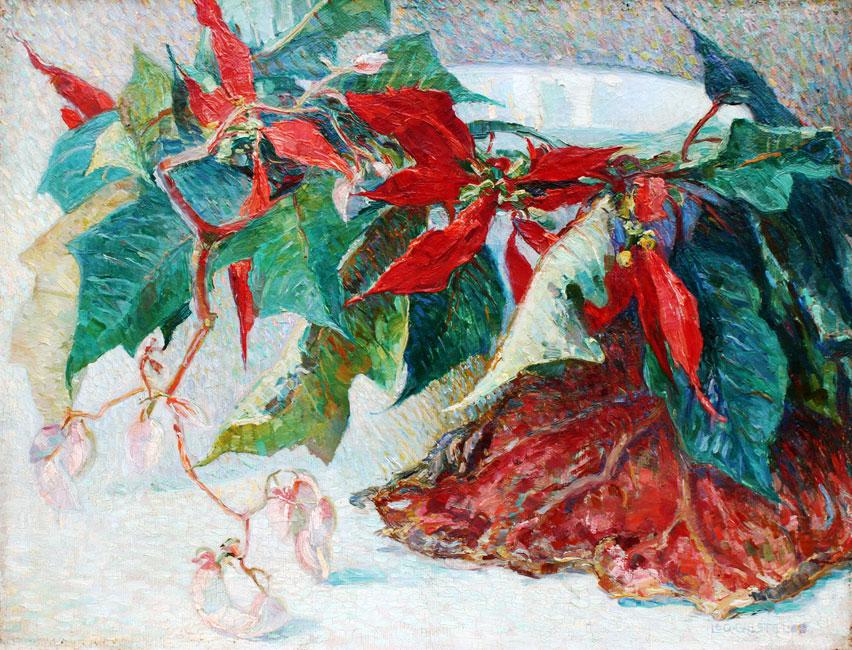 Stilleven met kerstster- Leo Gestel