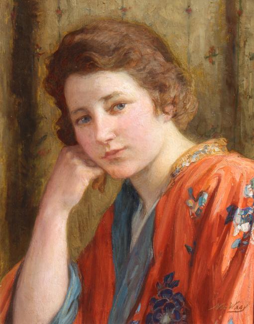 Meisje in rode kimono- Nicolaas  van der Waay