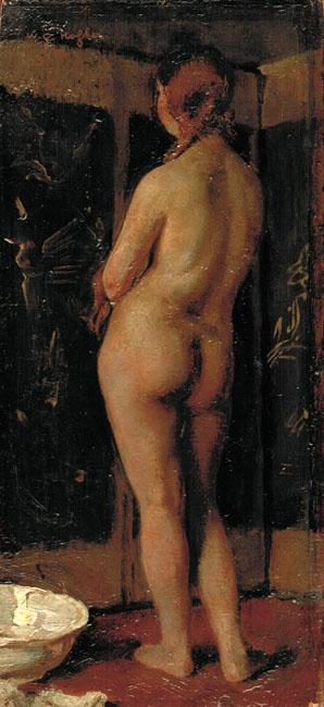 Maria naakt voor een chinees kamerscherm- Willem Gerard Hofker