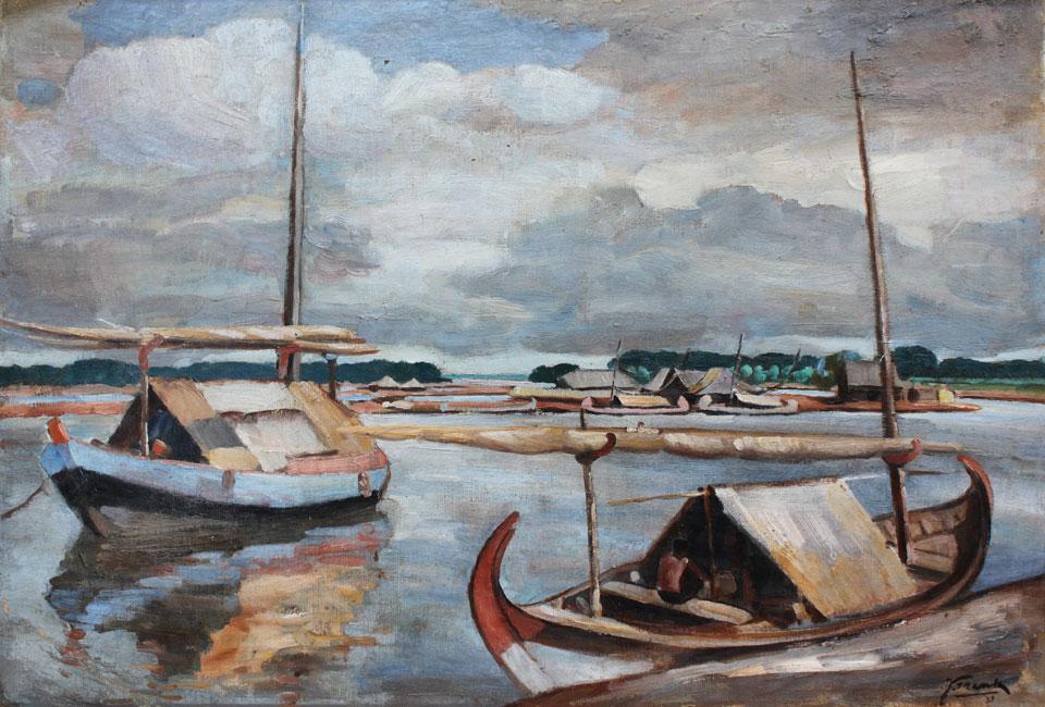 afgemeerde boten in de haven- Jan Frank Niemantsverdriet