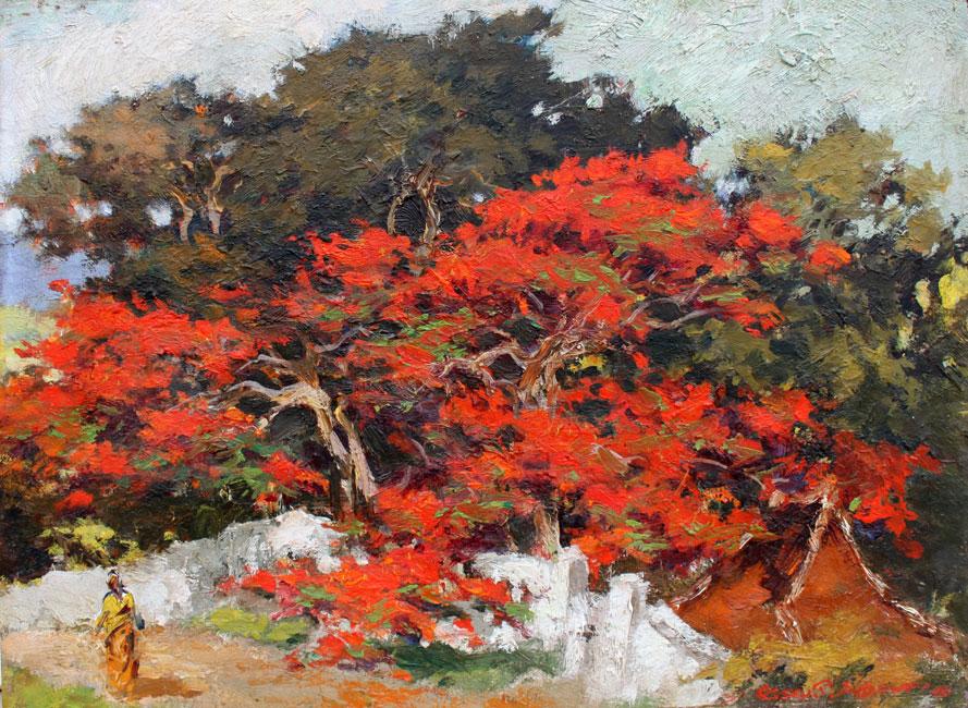 Tuin met flamboyant- Gerard Pieter Adolfs