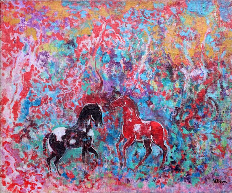 Twee paardjes in een bos- Frits Klein