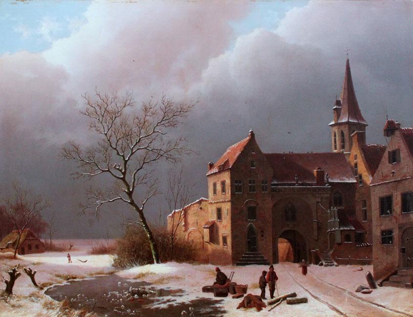 Winters landschap in de omgeving van een kasteel- Louwrens Hanedoes