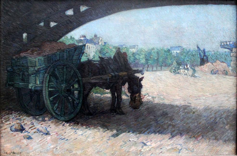 Parijs 1913, paard met wagen onder Seinebrug- Chris Beekman