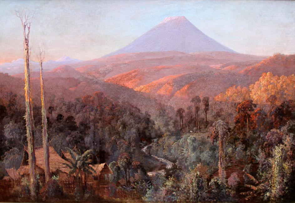 Zonsopgang over een preangerlandschap met vulkaan op Java- Leo Eland