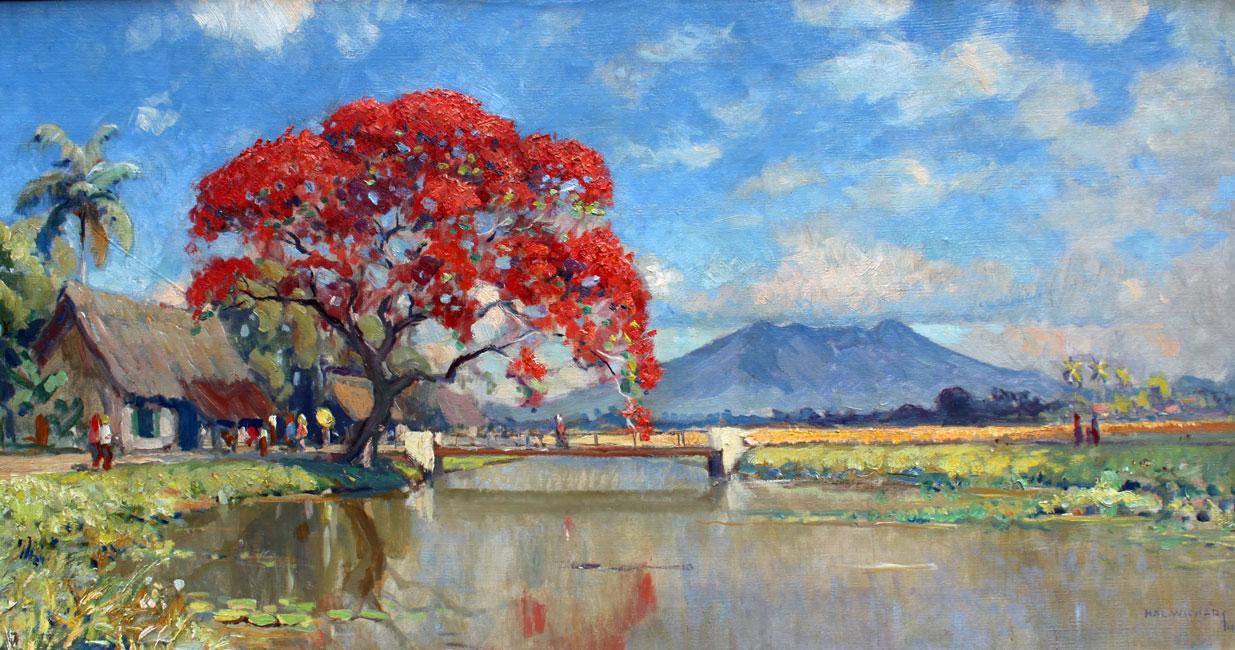 sawah landschap met gunung en flamboyant- H.A.L. Wichers