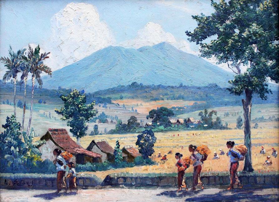zonnig sawahlandschap met gunung en figuren langs een weg- Leo Eland