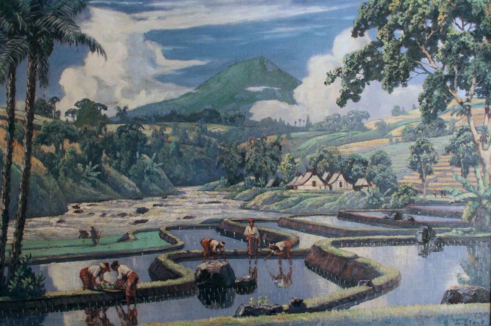 Sawahlandschap met rijstplanters en kali, gunung en dessa in de achtergrond- Leo Eland