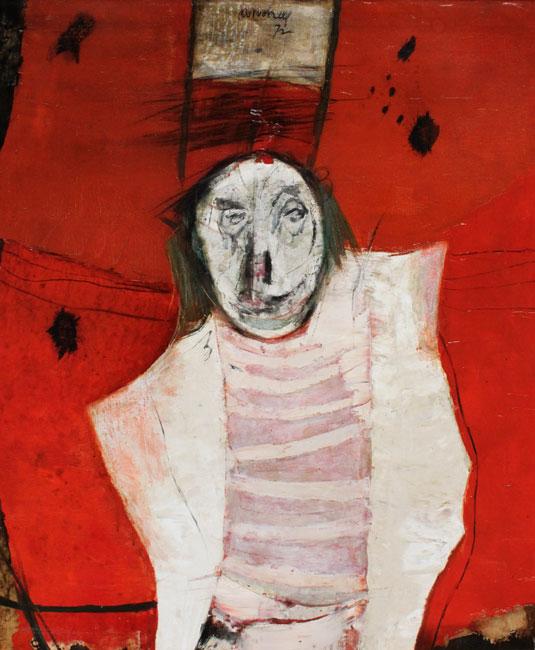 Clown tegen rood fond- Jan van Heel