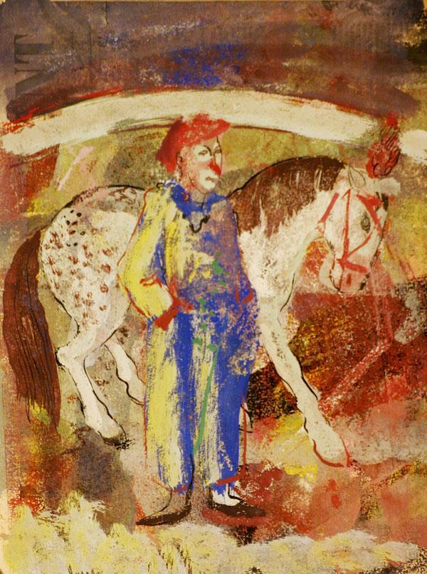 clown en paard in circusarena- Jan van Heel