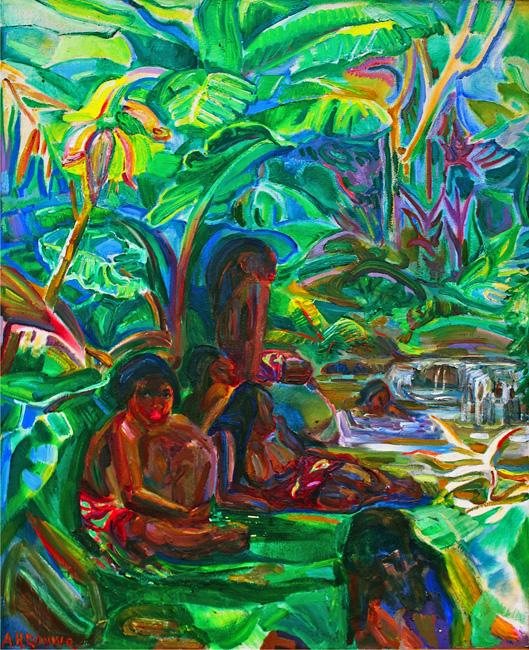 Tahiti: Baders bij een bosstroom- Adriaan Herman Gouwe