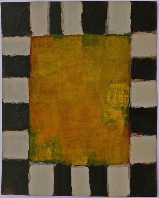 geel vlak op wit-zwarte vloer- Ton Frenken