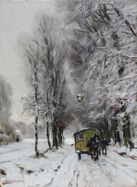 Paard en wagen op een besneeuwd bospad- Louis Apol