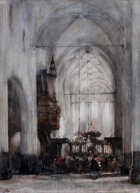 Interieur van de Grote Kerk te Hattem (Gld.)- Johannes Bosboom