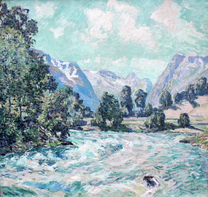 Zomers rivierlandschap bij Olden- William Henry Singer