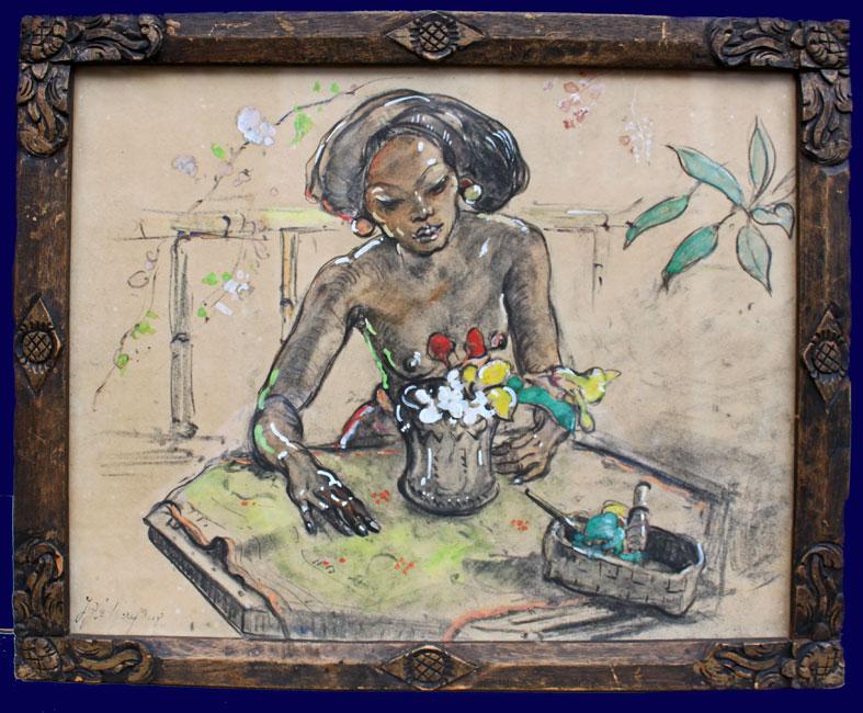 Ni Pollok arranging flowers- Adrien Jean Le Mayeur de Merpres