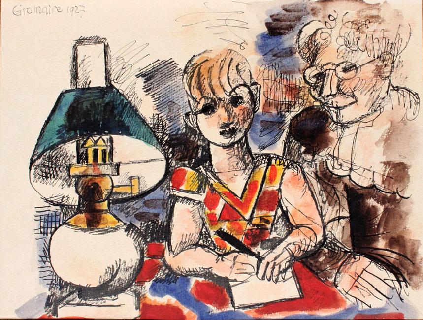 le garcon et sa grand-mere- Marcel Gromaire