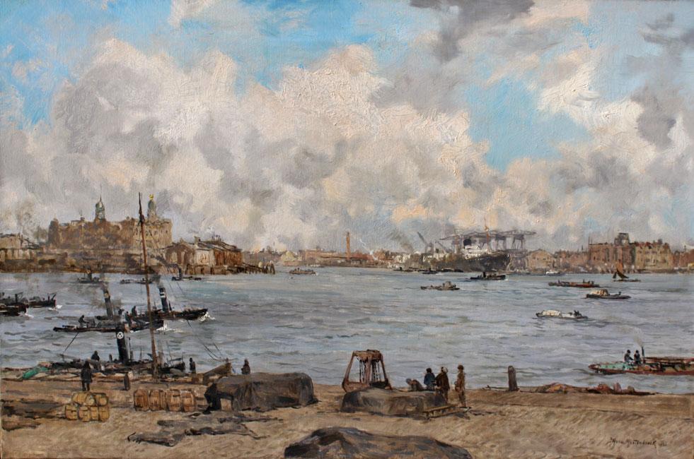 Gezicht op de Maas bij de ingang van de Rijnhaven- Johan Hendrik van Mastenbroek