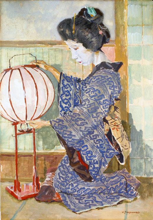 Geisha with lamp- Willem Dooijewaard