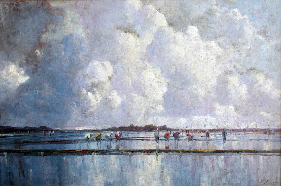 Wolkenspel boven de sawahs- Leo Eland