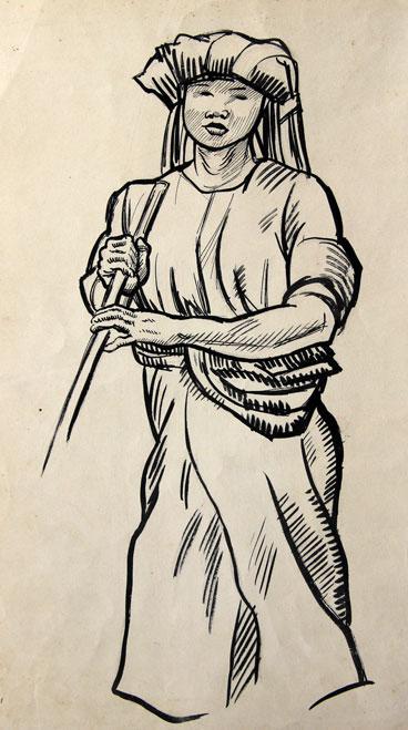 Indonesische man met staf en tulband- Pieter Ouborg