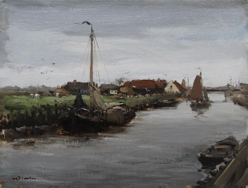 Kanaal met boten- Willem George Frederik Jansen