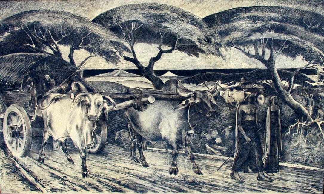 Indisch landschap met een kar met karbouwen op een landweg- Johannes Frederik Engelbert Ten Klooster