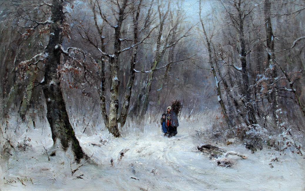 Figuren op een besneeuwd bospad- Louis Apol