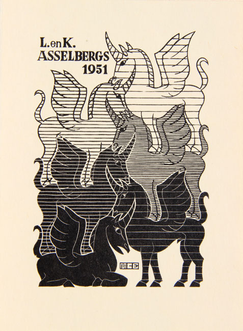 New Years Greeting-card 1951, L. and K. Asselbergs October 1950- Maurits Cornelis Escher