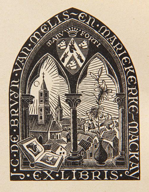 Bookplate J.C. de Bruyn van Melis en Mariekerke-Mackay June 1946- Maurits Cornelis Escher