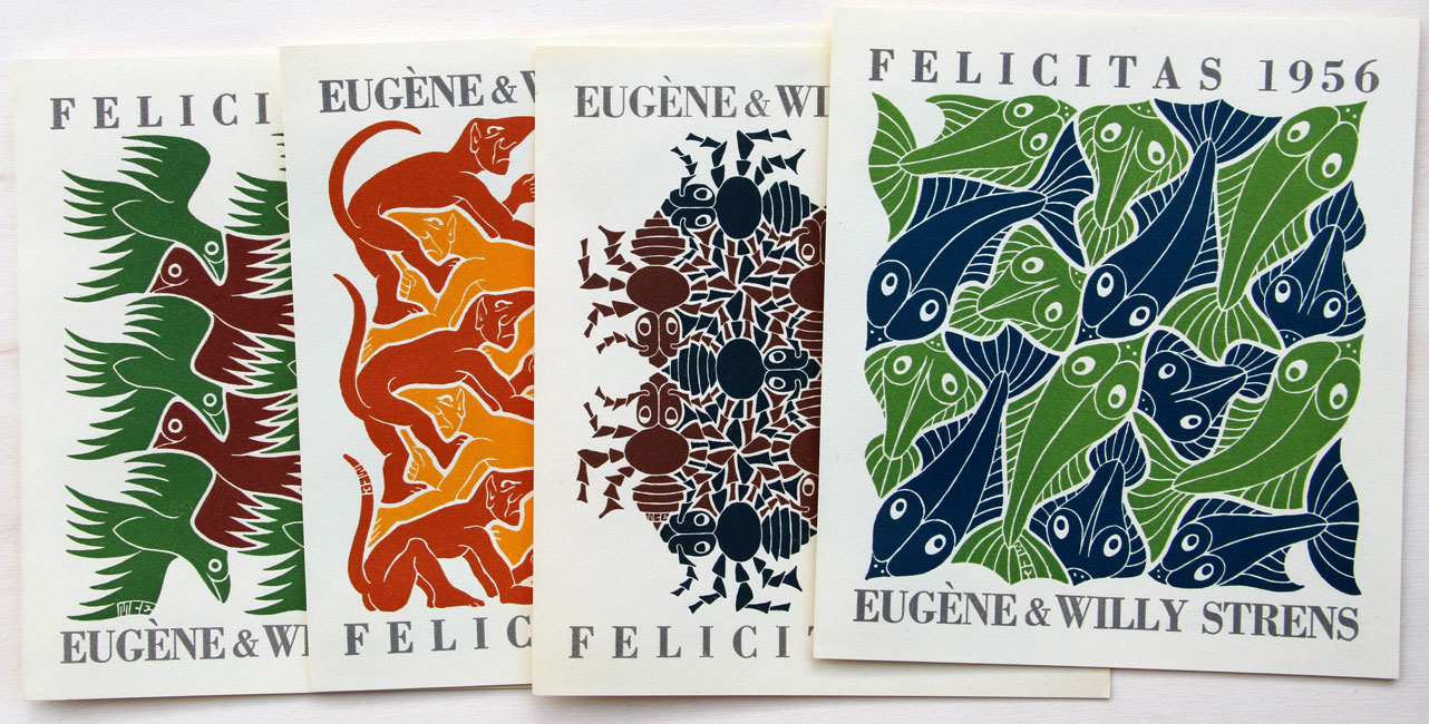 set of 4 New Year's greeting cards for the years 1953 - 1954 - 1955 - 1955 depicting / symbolising the four elements- Maurits Cornelis Escher