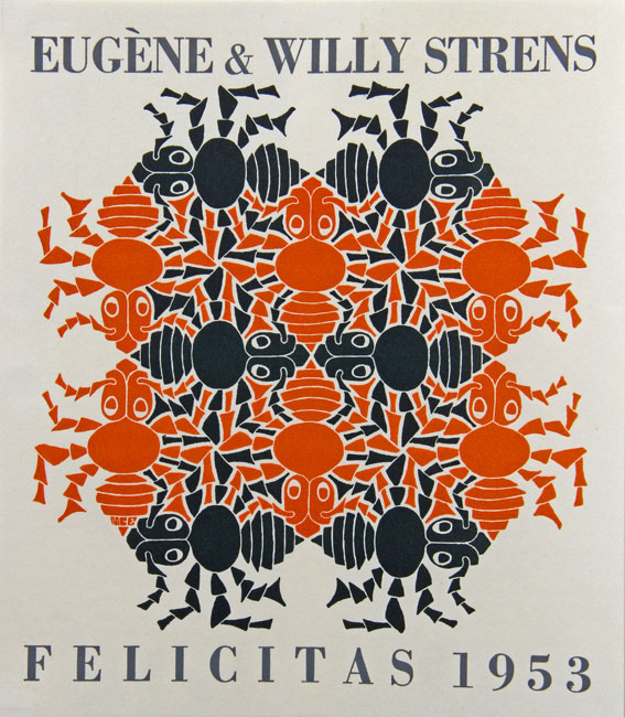 Earth - New Years greeting card for1953 for Eugene & Willy Strens made in 1952 color variant printed for inclusion in Boekcier July 1959- Maurits Cornelis Escher