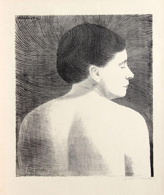 Op de rug gezien vrouwelijk naakt ( L 030 )- Samuel Jessurun de Mesquita