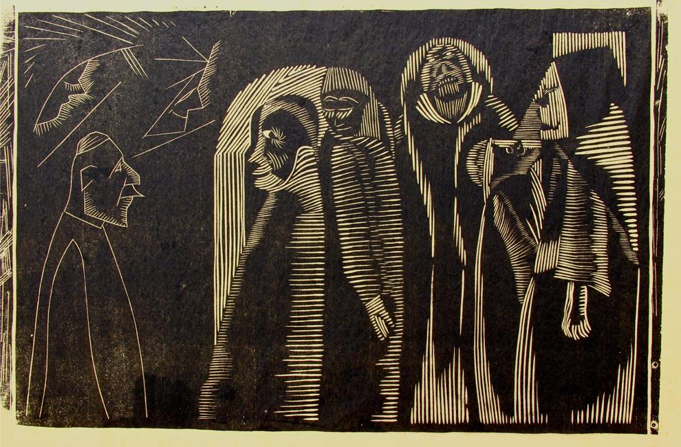 Fantasie met diverse figuren ( H 100 1e st/ 6 )- Samuel Jessurun de Mesquita