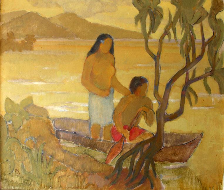 Tahitiaans stel in een kano- Theo Meier
