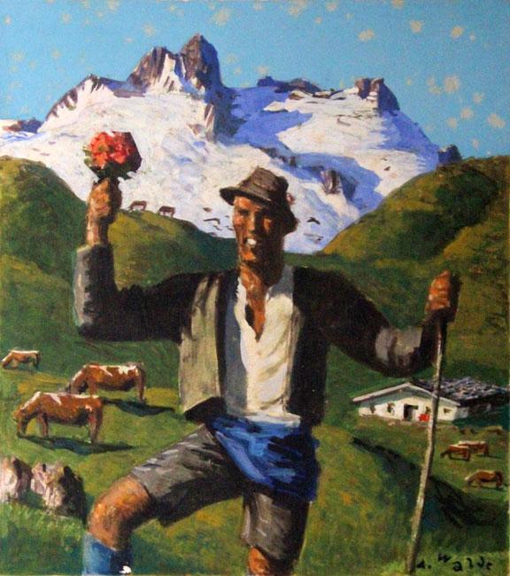 Sommer auf der Alm / Wanderer mit Blumen- Alfons Walde