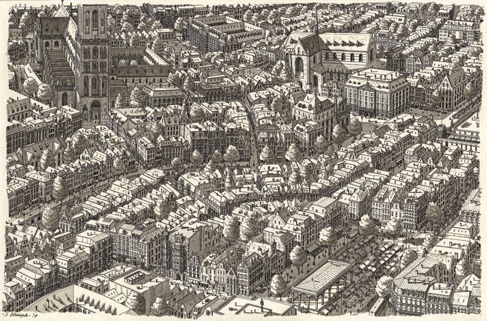 Denkbeeldige oude stad in Nederland- Stefan Bleekrode