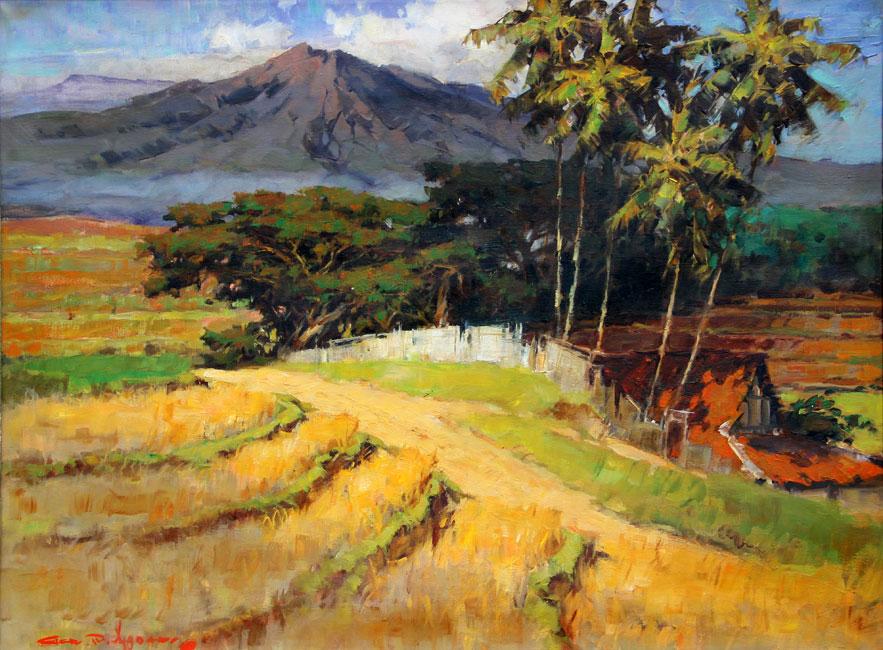 Landschap met sawas en een vulkaan- Gerard Pieter Adolfs