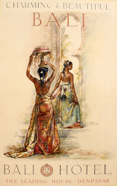 Poster for the Bali Hotel Den Pasar Balinese with offerings girls for a temple entrance- Willem Gerard Hofker