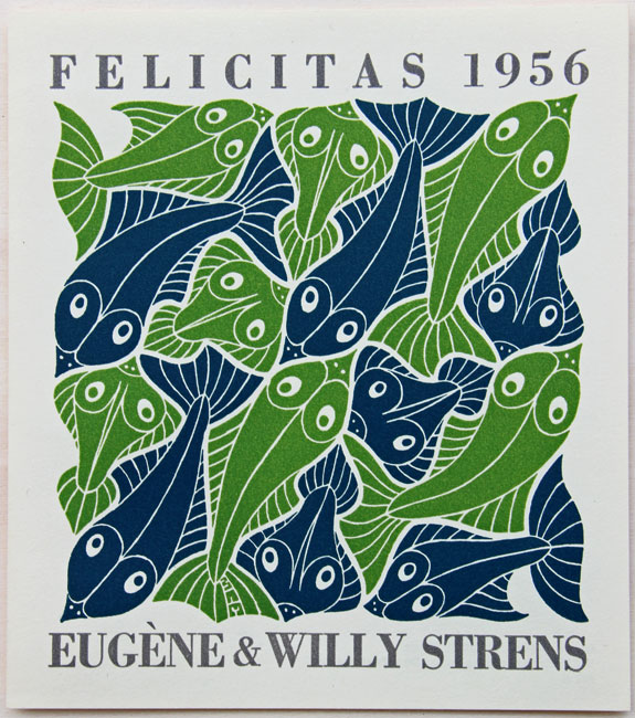 Water - New Years greeting card for1956 for Eugene & Willy Strens made in 1952- Maurits Cornelis Escher