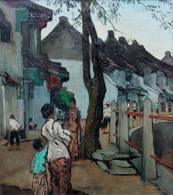 Gezicht in de Chinese wijk Batavia- Is. ( Isidore )  van Mens