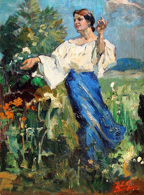 meisje in een zonnige tuin- Jhr. Robert Graafland
