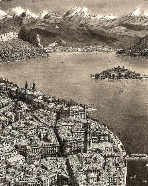 Imaginaire stadje in Noord Italië aan het Lago Magiore / Imaginari Italian city on the Lago Magiore- Stefan Bleekrode