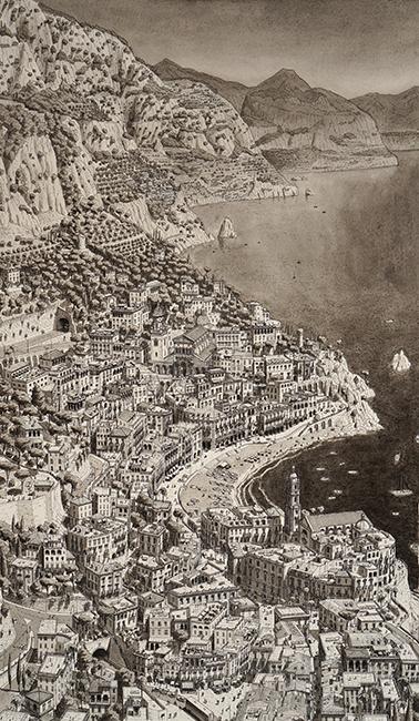 Imaginaire kustplaats bij Amalfi ten zuiden van Napels- Stefan Bleekrode