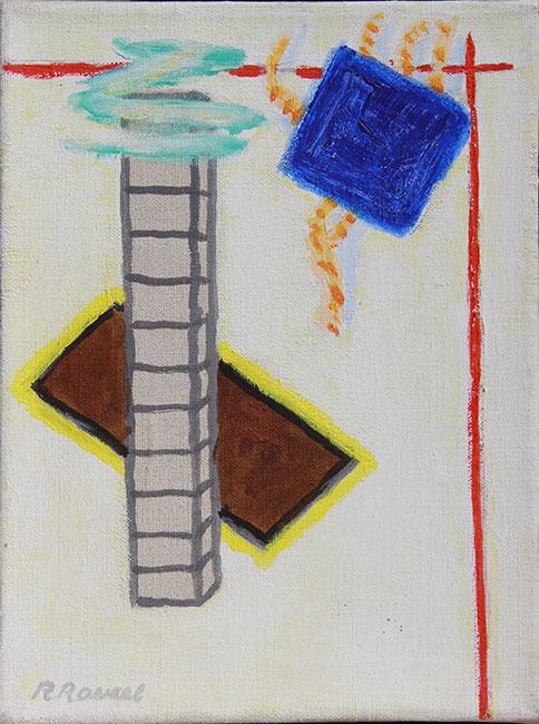 Compositie met Blauw Vierkant- Roger Raveel