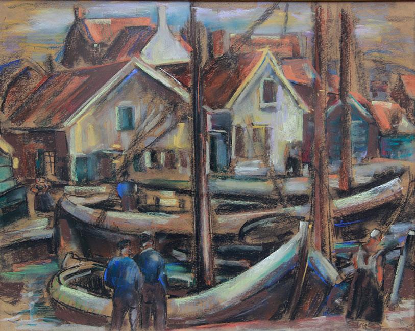Vissers in de oude haven van Spakenburg- Leo Gestel